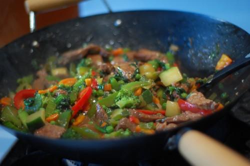 stir in veggies