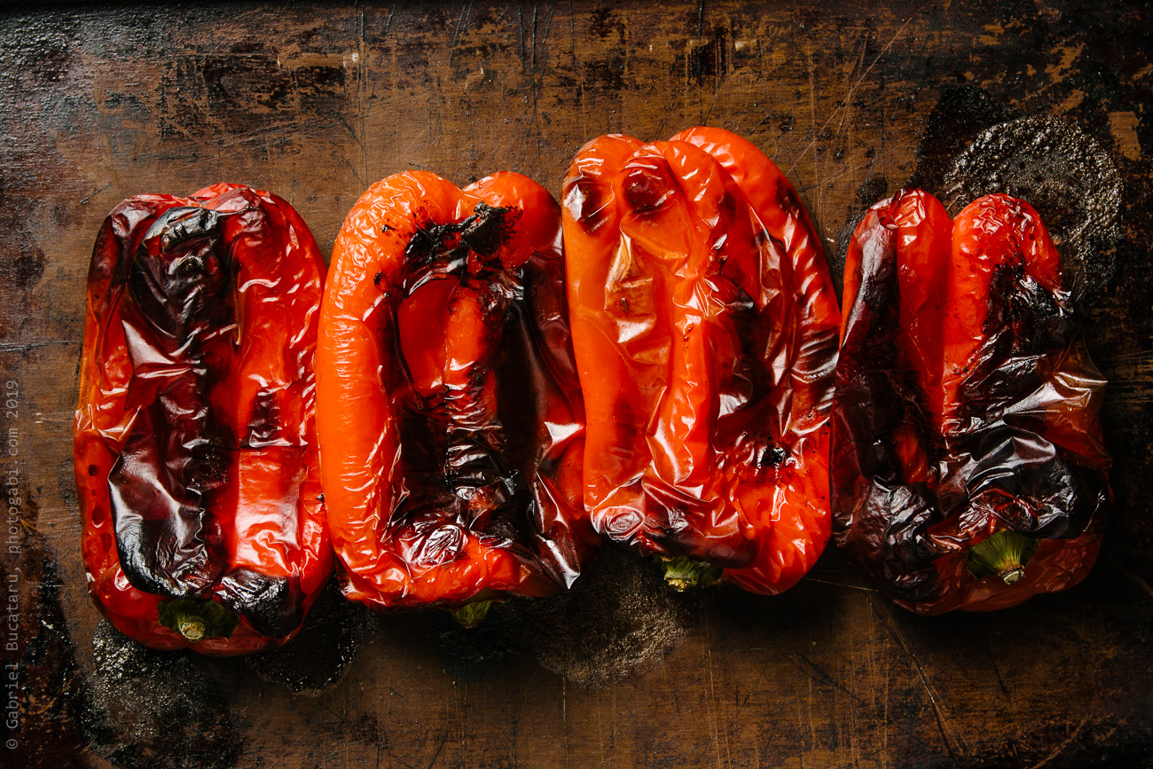Roasted peppers out of oven